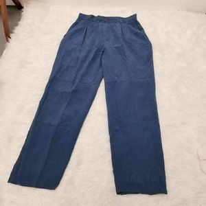 Anna And Frank Straight Leg Pants Blue 100% Silk…